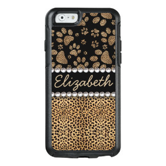 Leopard Spot Paw Prints Rhinestone PHOTO PRINT OtterBox iPhone 6/6s Case