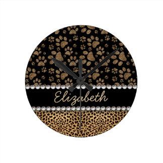 Leopard Spot Paw Prints Rhinestone PHOTO PRINT Round Clock