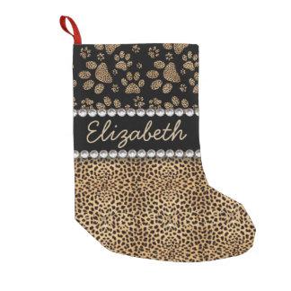 Leopard Spot Paw Prints Rhinestone PHOTO PRINT Small Christmas Stocking