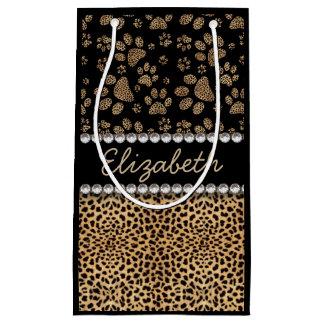 Leopard Spot Paw Prints Rhinestone PHOTO PRINT Small Gift Bag