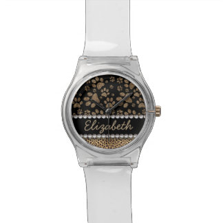 Leopard Spot Paw Prints Rhinestone PHOTO PRINT Wristwatch