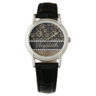 Leopard Spot Paw Prints Rhinestone PHOTO PRINT Wristwatches