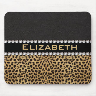 Leopard Spot Rhinestone Diamonds Monogram PHOTO Mouse Pad