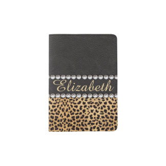 Leopard Spot Rhinestone Diamonds Personalized Passport Holder