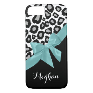 Leopard Spots and Aqua Bow with Name iPhone 7 Case