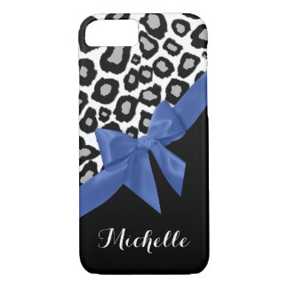 Leopard Spots and Blue Bow with Name iPhone 7 Case