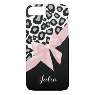Leopard Spots and Pink Bow with Name iPhone 7 Case