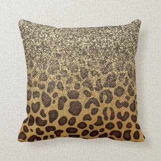 Leopard Spots Champagne Gold Glitter Animal Print Cushion