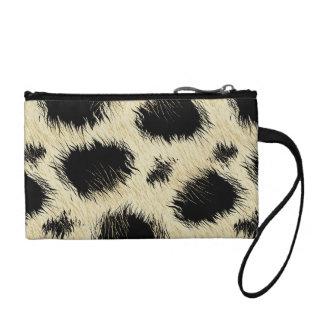 Leopard spots fur coin purse