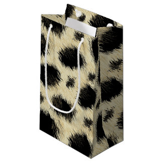 Leopard spots fur small gift bag