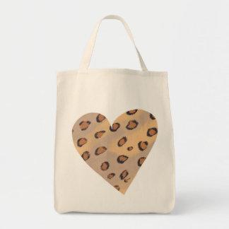 Leopard Spots Pattern in a Heart Shape Bags