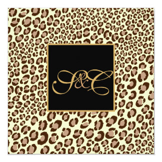 Leopard spots + pearl swirls/vintage 13 cm x 13 cm square invitation card