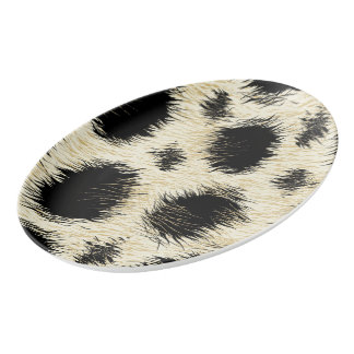 Leopard spots porcelain serving platter
