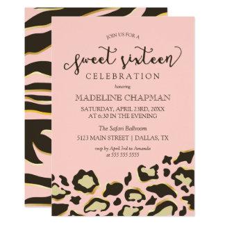 Leopard Spots & Tiger Stripes Sweet Sixteen Card