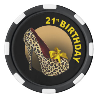 Leopard Stiletto 21st Birthday yellow black Poker Chip Set