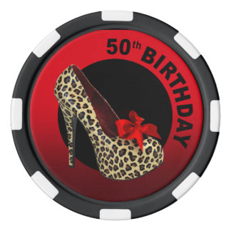 Leopard Stiletto 50th Birthday red black Set Of Poker Chips