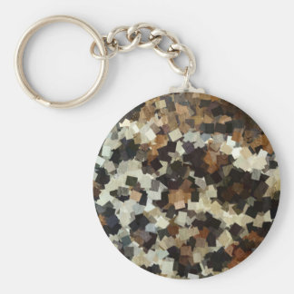 Leopard Style Brown Black Square Pattern Key Ring