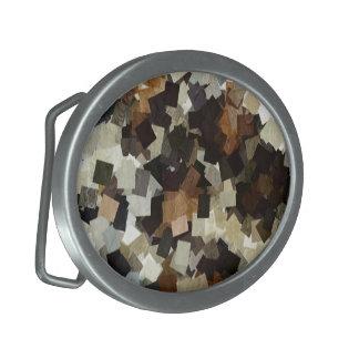 Leopard Style Brown Black Square Pattern Oval Belt Buckles