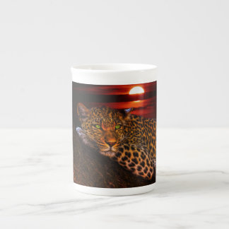 Leopard with Sunset Tea Cup