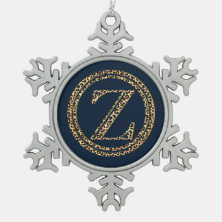 Leopard Z Snowflake Pewter Christmas Ornament