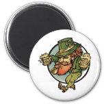 Leprechaun 6 Cm Round Magnet