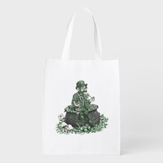 Leprechaun and Pot of Gold Reusable Grocery Bag
