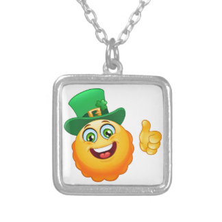 leprechaun emoji silver plated necklace