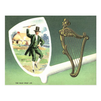 Leprechaun Harp of Erin Clay Pipe Jig Postcard