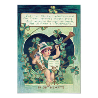 Leprechaun Harp Shamrock Horn 13 Cm X 18 Cm Invitation Card