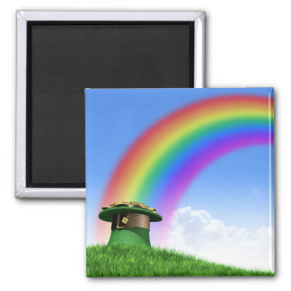 Leprechaun Hat With Gold On A Grassy Hill Magnet