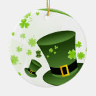 Leprechaun hats with 4 leaf clovers ceramic ornament