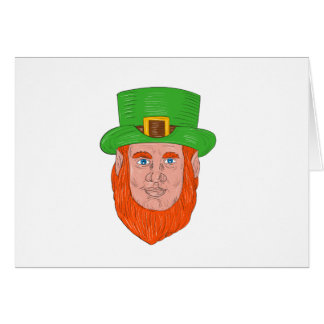Leprechaun Head Front Drawing Card