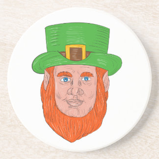 Leprechaun Head Front Drawing Coaster