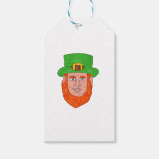 Leprechaun Head Front Drawing Gift Tags