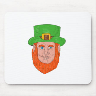 Leprechaun Head Front Drawing Mouse Pad