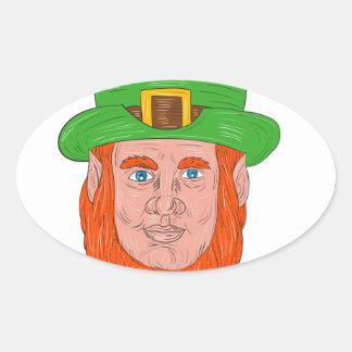 Leprechaun Head Front Drawing Oval Sticker