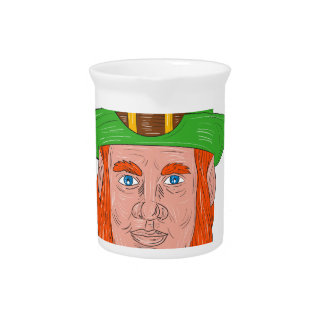 Leprechaun Head Front Drawing Pitcher