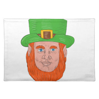 Leprechaun Head Front Drawing Placemat
