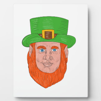Leprechaun Head Front Drawing Plaque