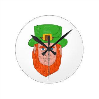 Leprechaun Head Front Drawing Round Clock