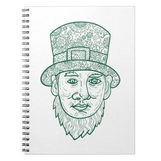 Leprechaun Head Front Mandala Notebooks