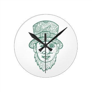 Leprechaun Head Front Mandala Round Clock