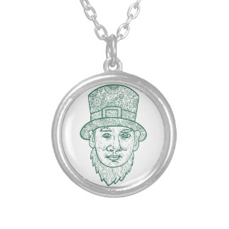 Leprechaun Head Front Mandala Silver Plated Necklace