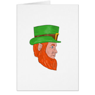 Leprechaun Head Side Drawing Card