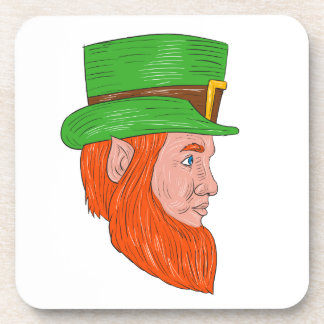 Leprechaun Head Side Drawing Coaster
