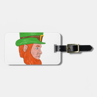 Leprechaun Head Side Drawing Luggage Tag