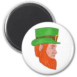 Leprechaun Head Side Drawing Magnet