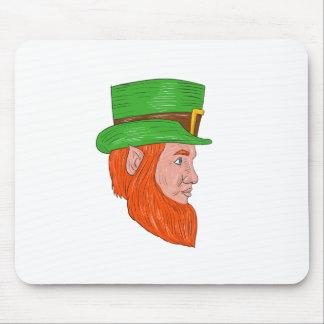 Leprechaun Head Side Drawing Mouse Pad