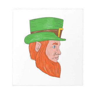 Leprechaun Head Side Drawing Notepad