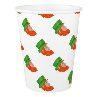 Leprechaun Head Side Drawing Paper Cup